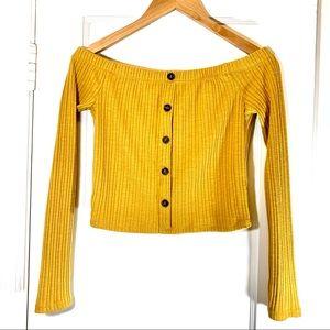 Forever 21 off shoulder mustard crop top L